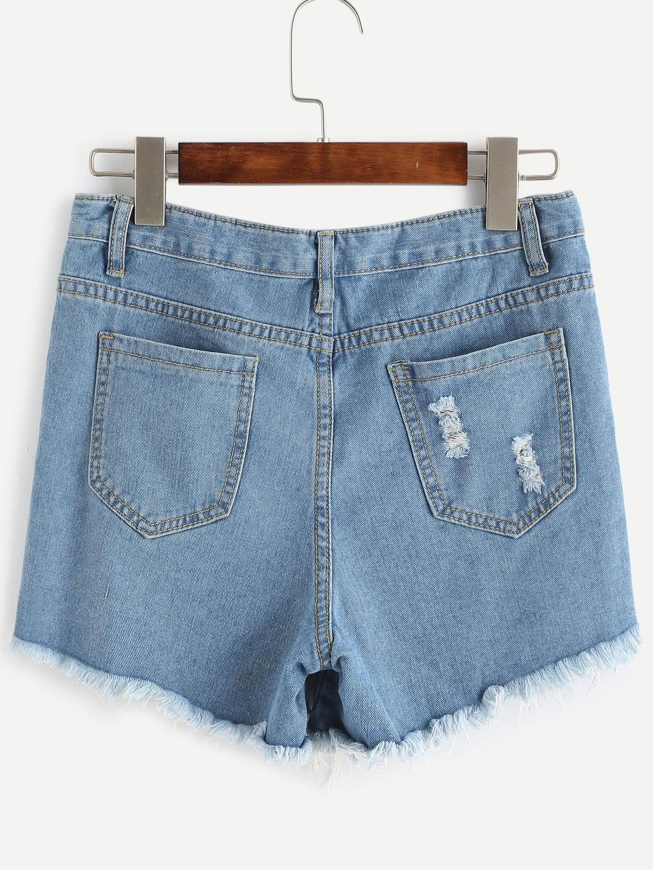 Blue Frayed Ripped Denim Shorts -SheIn(Sheinside)