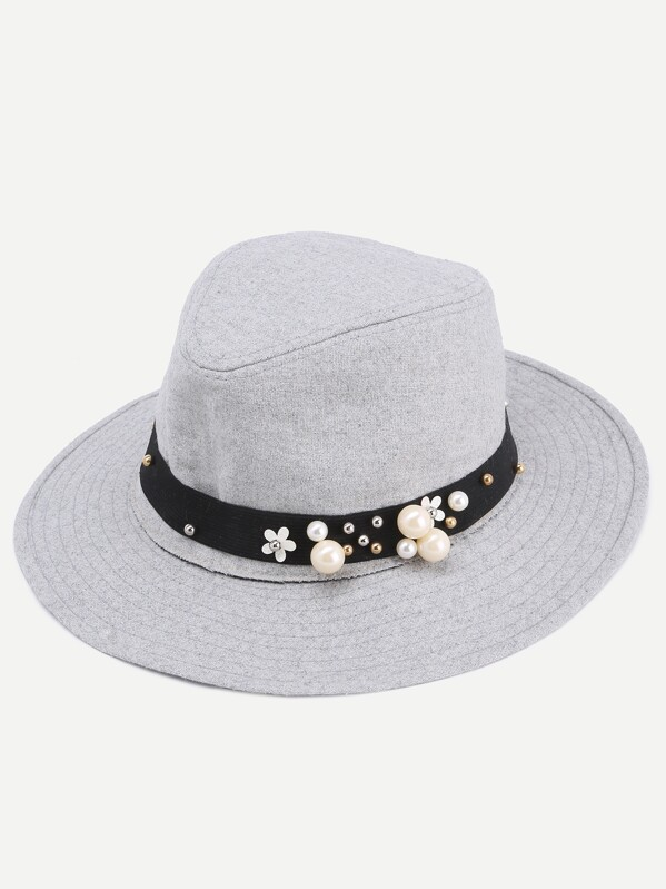 Grey Faux Pearl Embellished Band Fedora Hat  74c3a50f1c5e