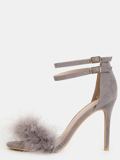 Single Sole Feather High Heels GRAY