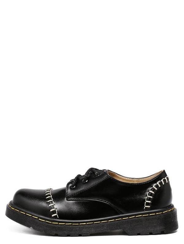 65a7a535e53a Zapatos pespunte suela goma cordón - negro