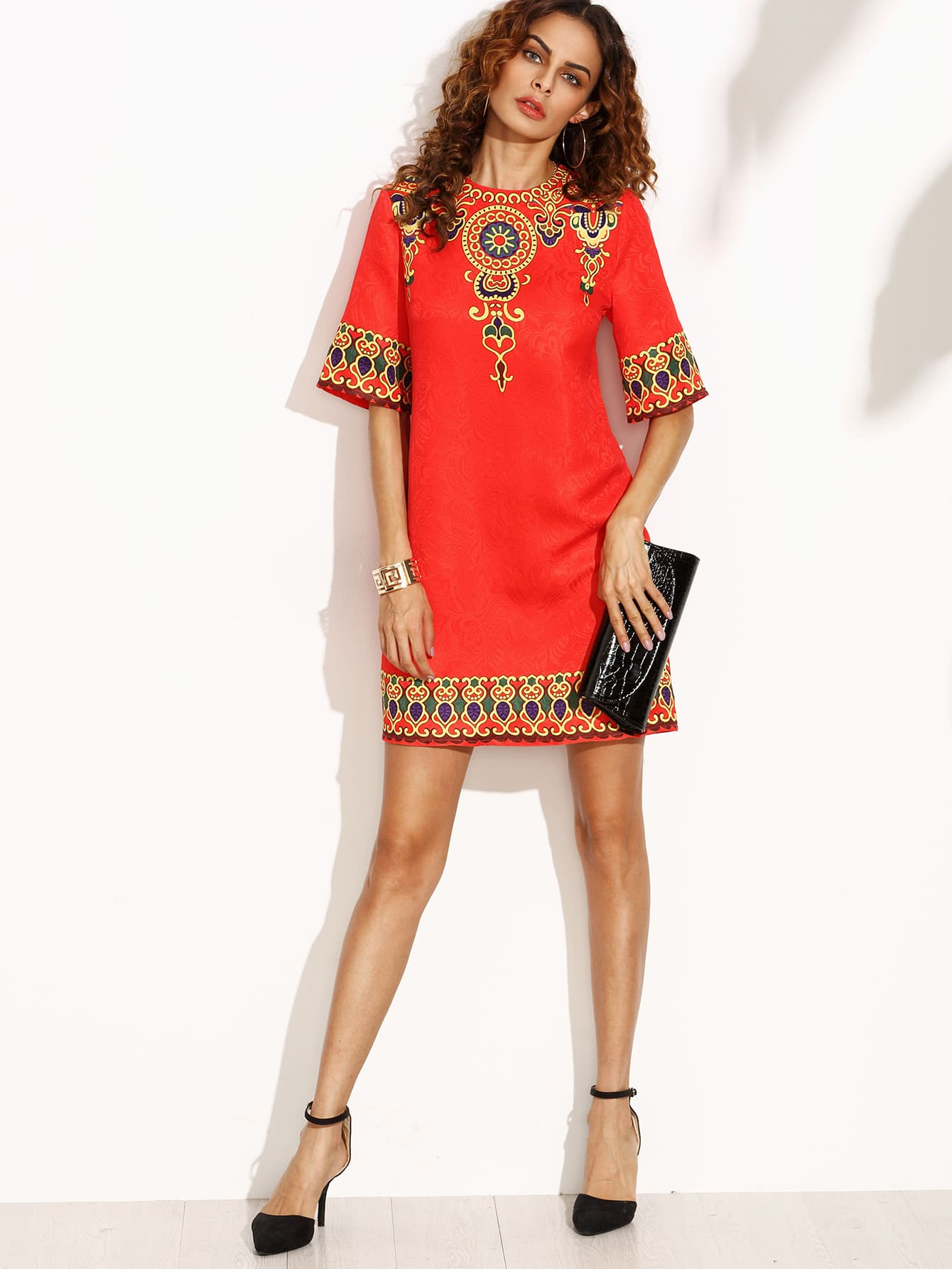 Red Print Half Sleeve Zipper Back Dress