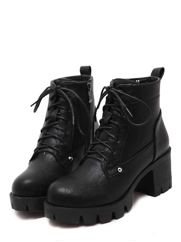 be8a8a19b1 Black Faux Leather Lace Up Chunky Boots | SHEIN