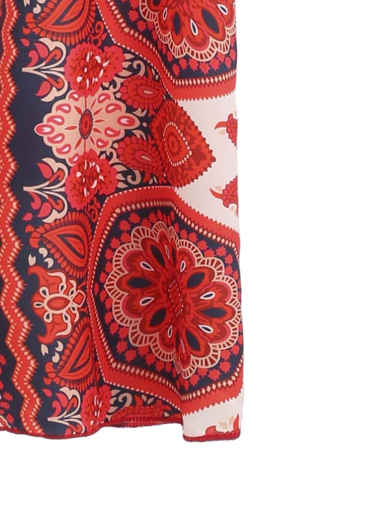 Red Tribal Print Kimono -SheIn(Sheinside)