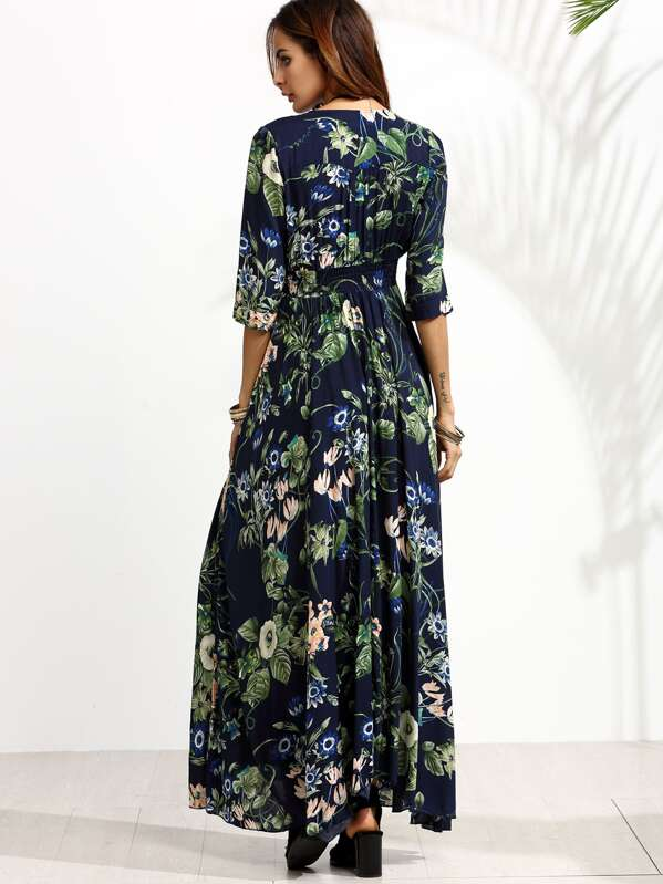 6f0fa53b76833 Floral Plunging Button Front Maxi Dress | SHEIN