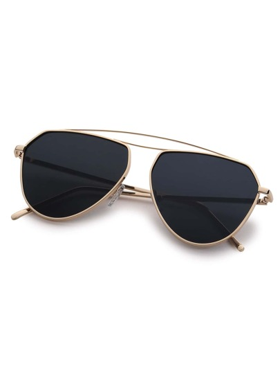 Gold Metal Frame Black Lens Aviator Sunglasses -SheIn ...