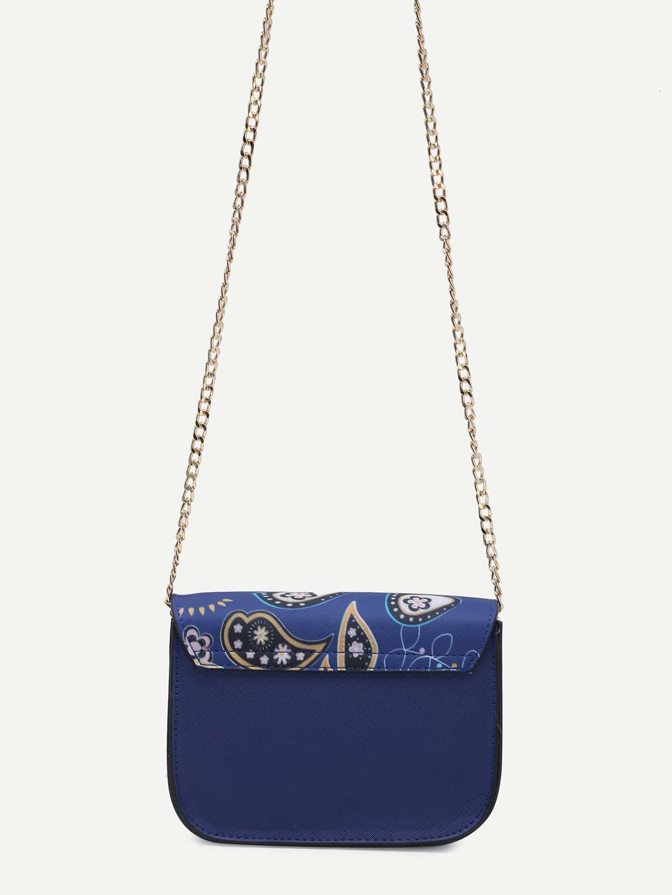 Blue Floral Print Crossbody Bag With Chain Strap -SheIn(Sheinside)