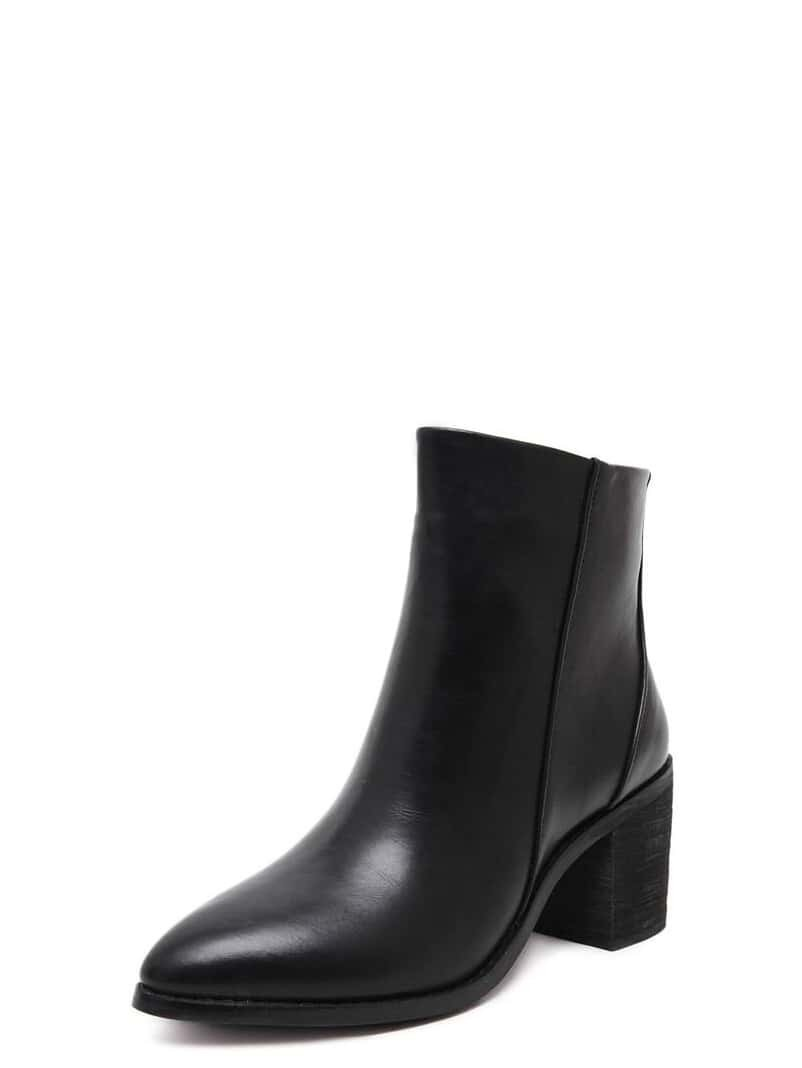 black faux leather side zipper chunky boots shein sheinside