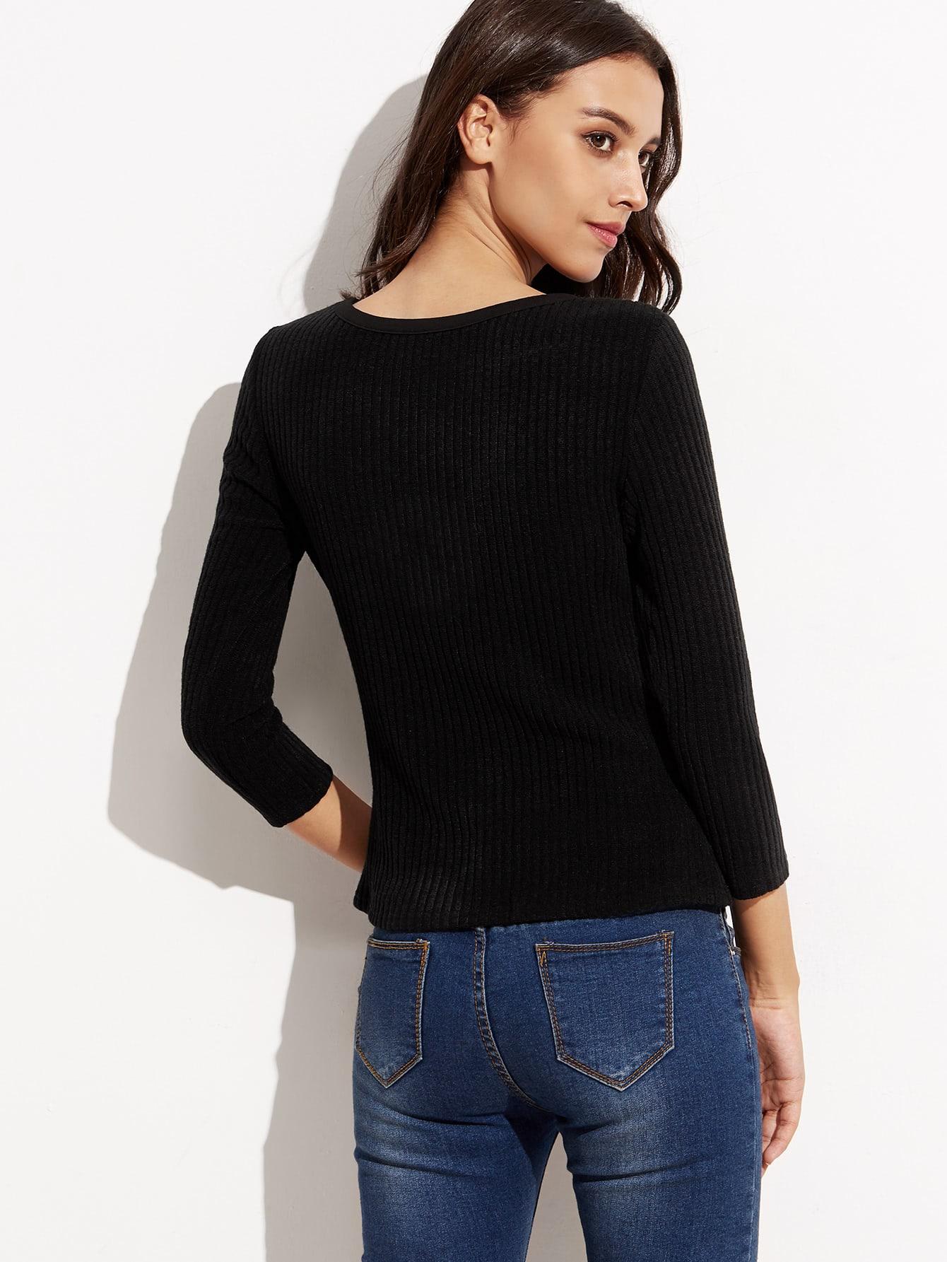 Black Lace Up V Neck Ribbed T-shirt
