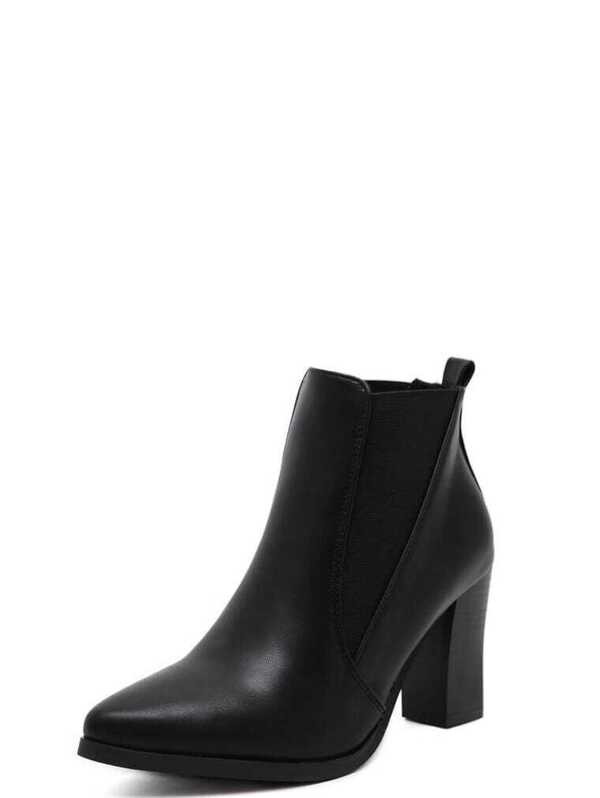 aae5592843093 Black Faux Leather Pointed Toe Elastic Ankle Boots