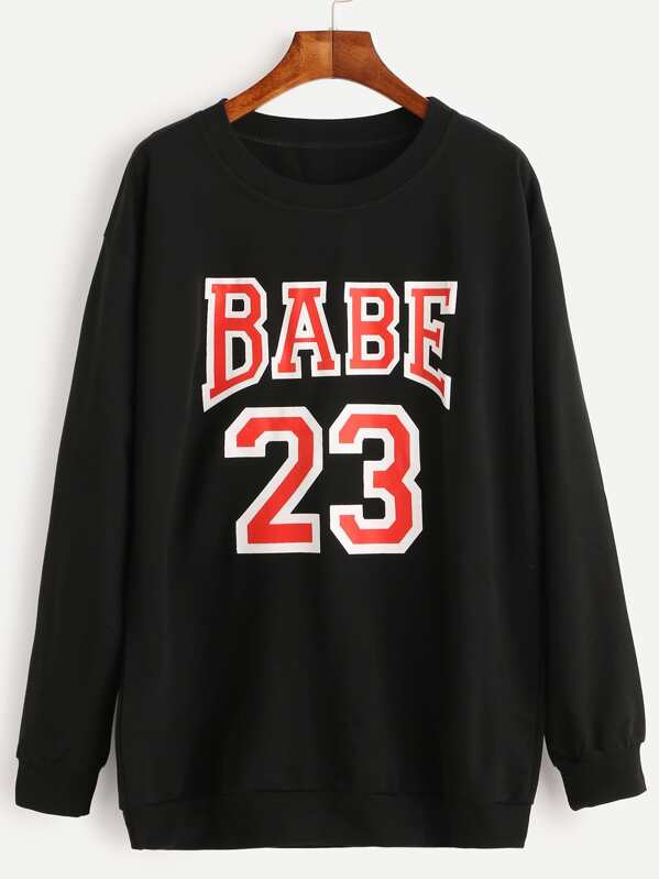 bfe3fc4975 Black Varsity Print Sweatshirt -SheIn(Sheinside)