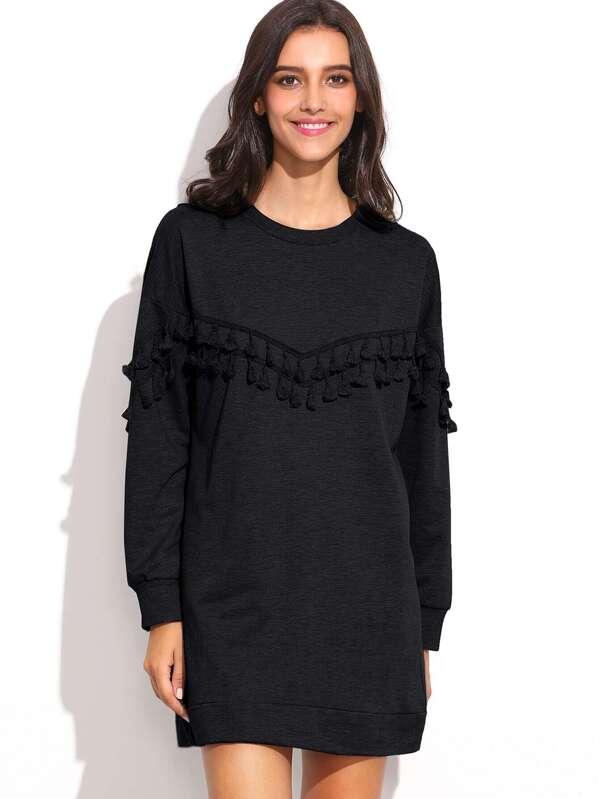 Noir Manche Shirt Avec Robe Longue Franges Sweat 7yYb6vfg