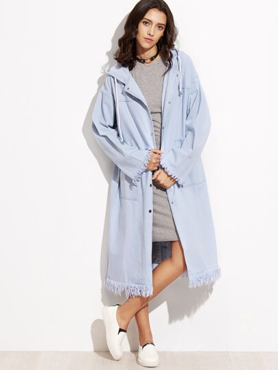 Blue Frayed Hooded Drawstring Denim Coat