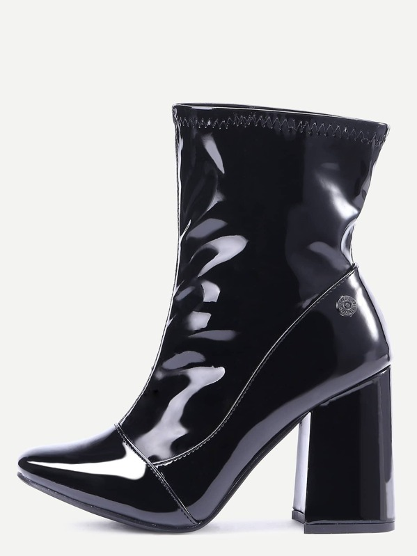 c450cdb35a1 Black Patent Leather Point Toe High Heel Boots
