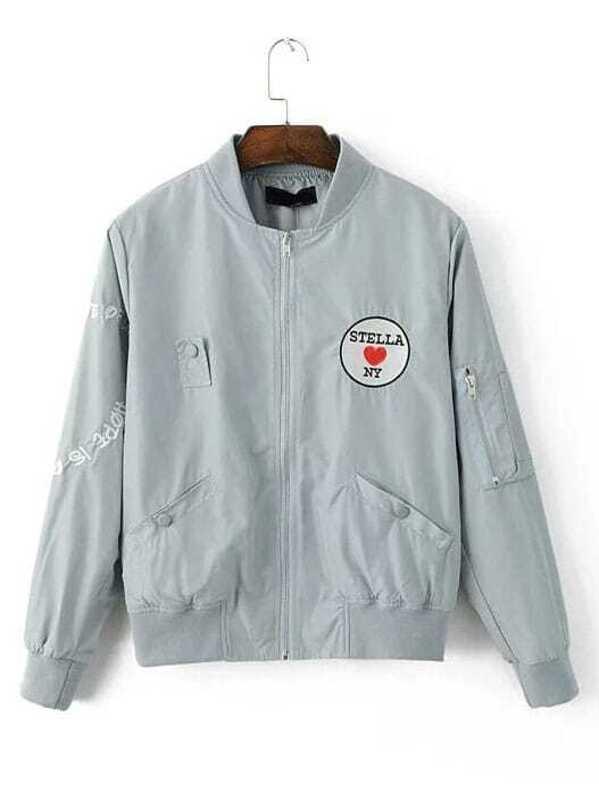0394e882e Light Blue Embroidered Patch Bomber Jacket
