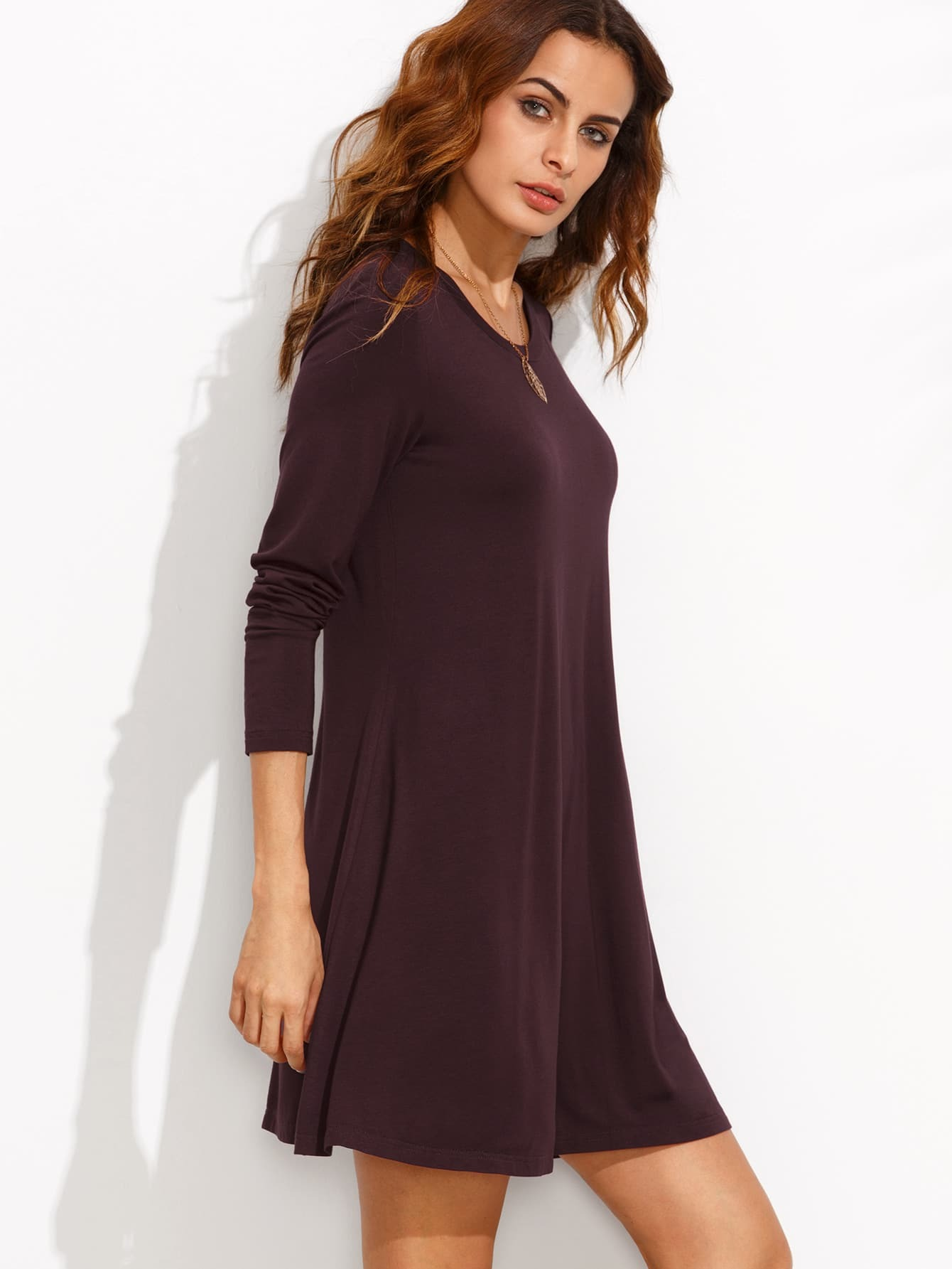 Burgundy Long Sleeve T-shirt Dress -SheIn(Sheinside)