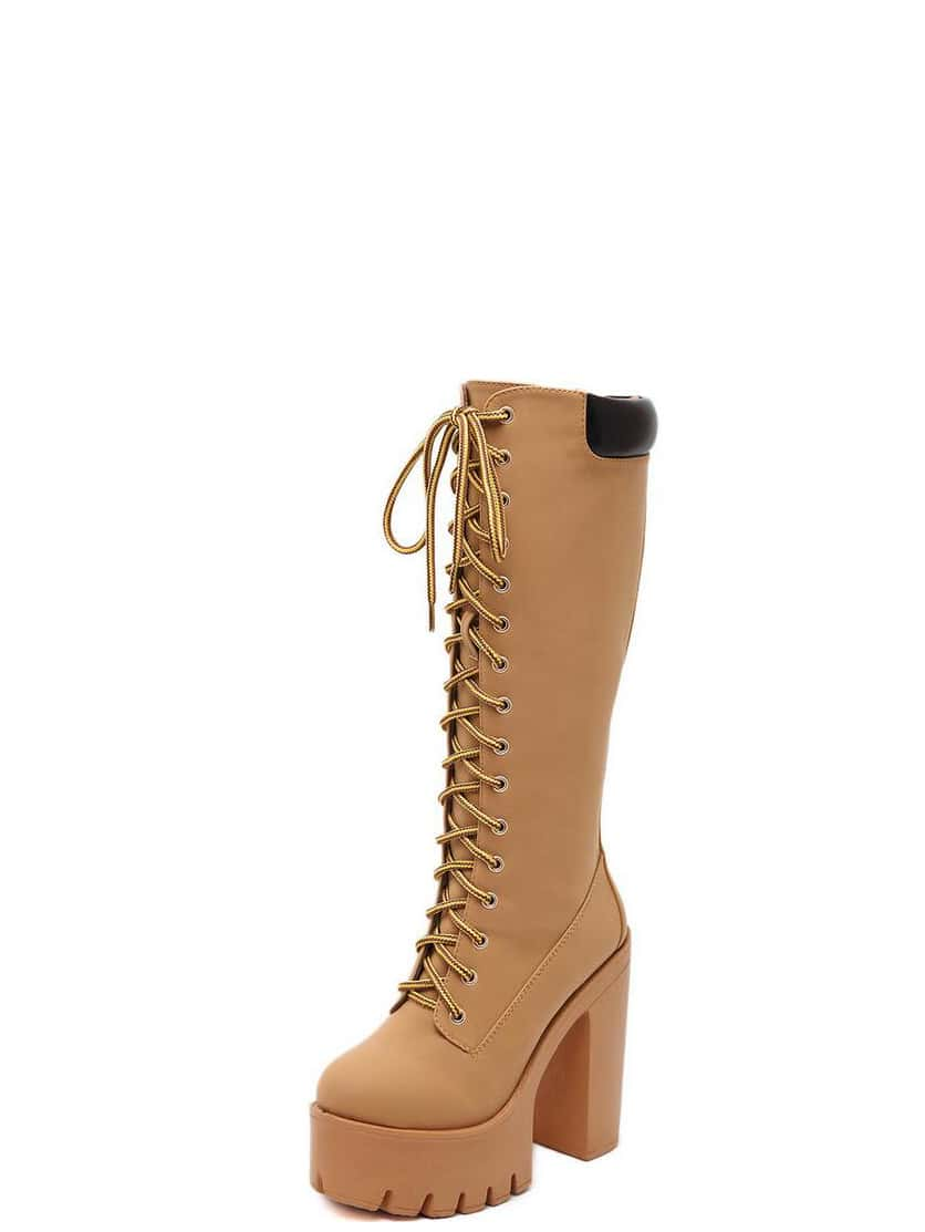 apricot faux suede lace up platform knee high boots shein
