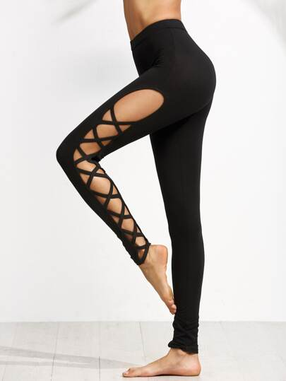 Black Cutout Lattice Detail High Waist Leggings -SheIn(Sheinside)