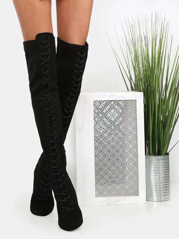 f469162b74 Faux Suede Lace Up Knee High Boots BLACK -SheIn(Sheinside)