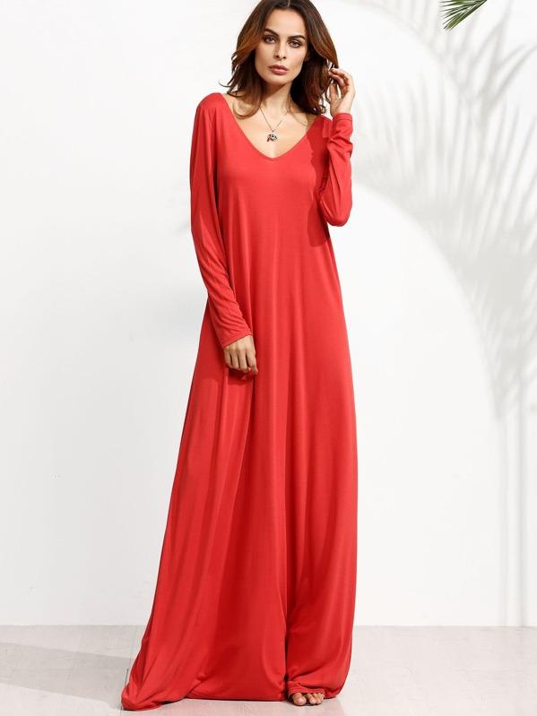 550fc8b3de Vestido maxi manga larga con escote V - rojo