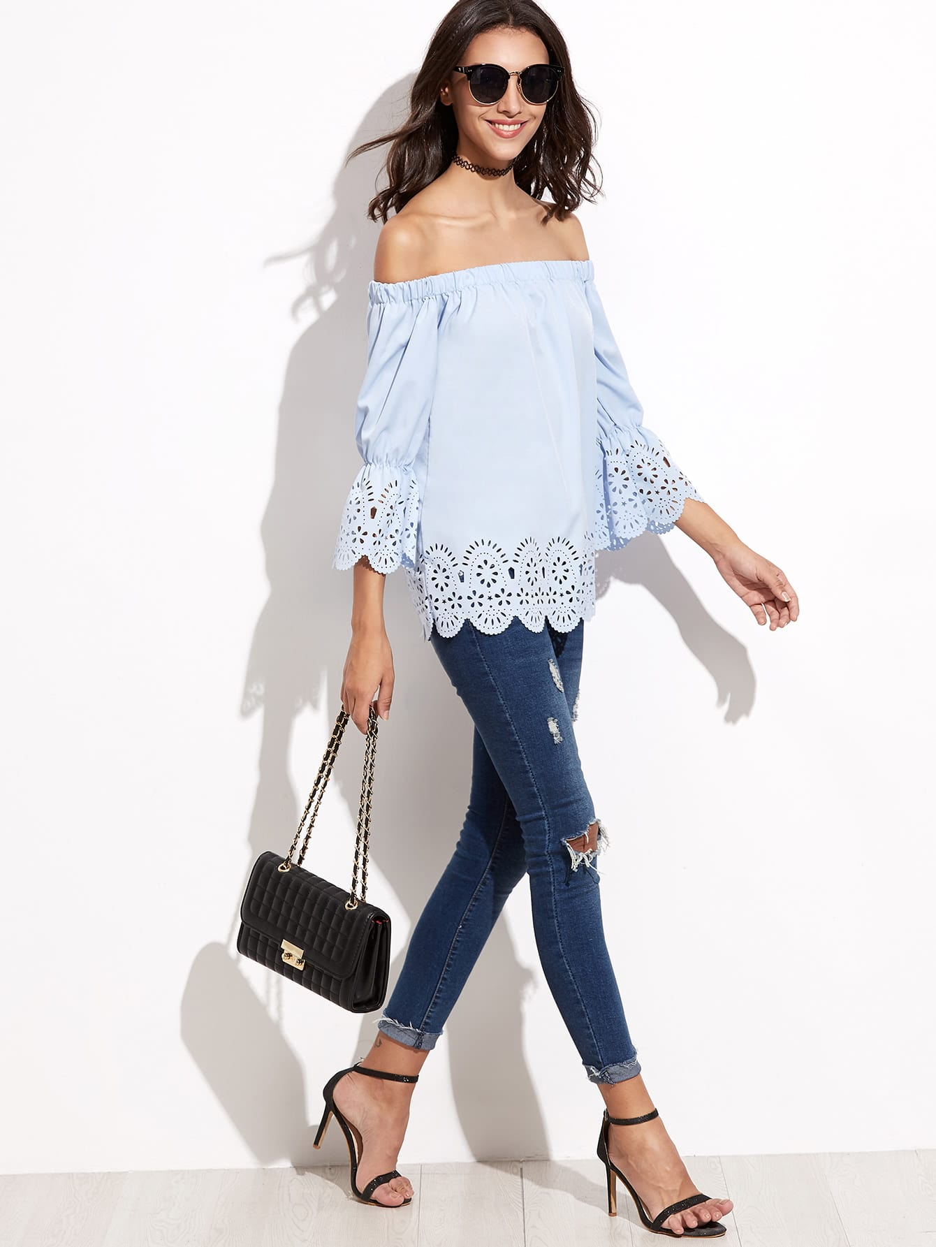 Blue Hollow Off The Shoulder Blouse With Scallop Detail