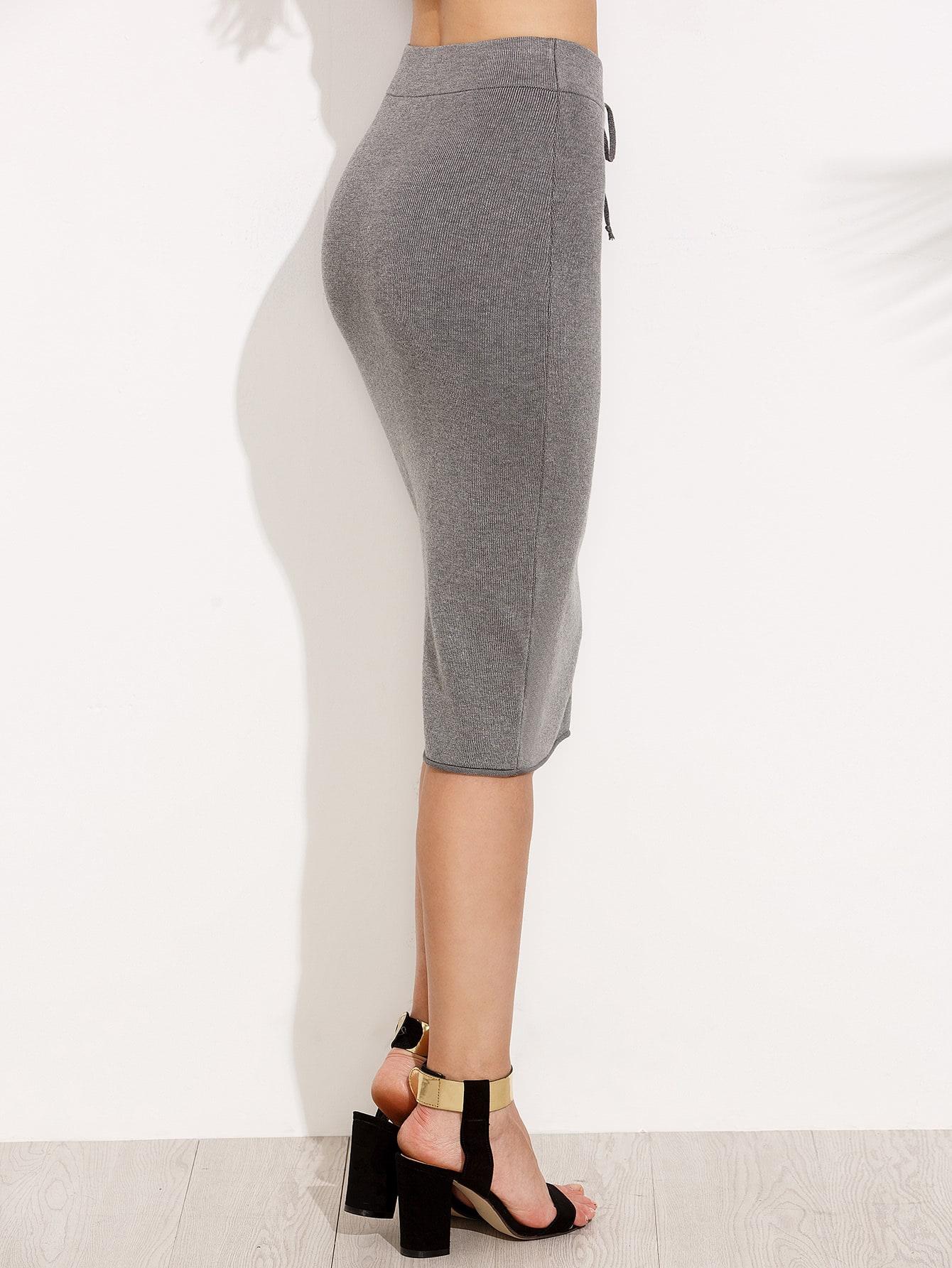 Grey Drawstring Knit Pencil Skirt -SheIn(Sheinside)