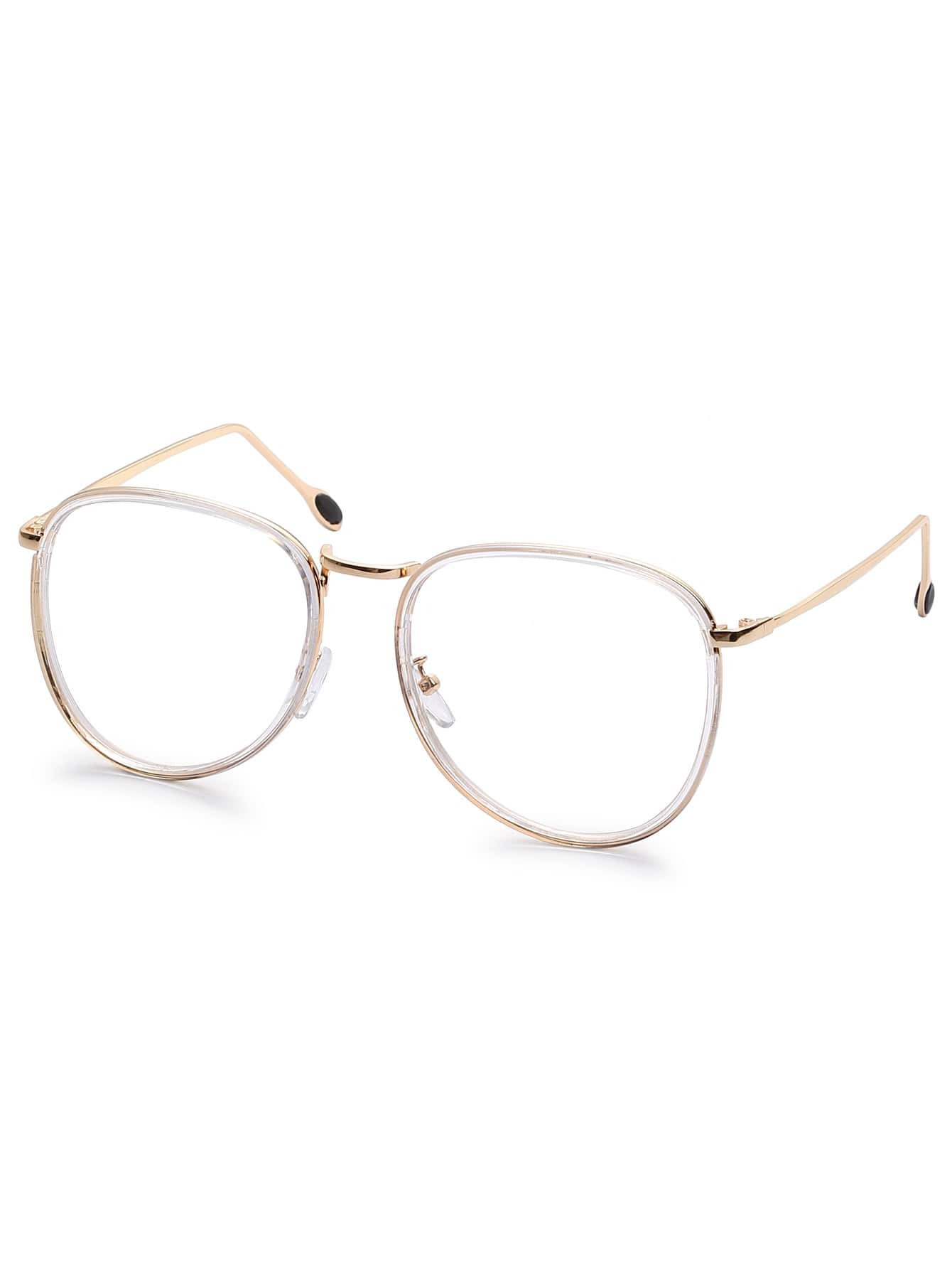Gold Metal Glasses Frames : Gold Metal Frame Clear Lens Retro Style Glasses -SheIn ...