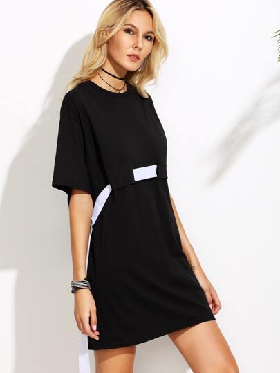 2cf7940c35 Black Tee Dress With White Belt -SheIn(Sheinside)