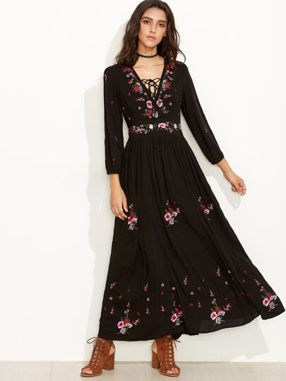 ... Chic O-Neck Long Sleeve Mesh Embroidery Maxi Dress ...