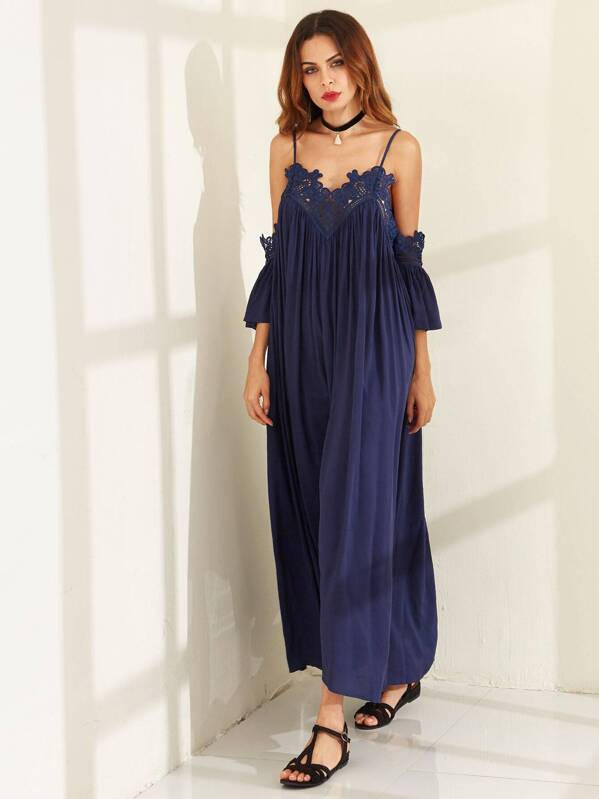 10584cac9c Cold Shoulder Pleated Lace Trim Maxi Dress | SHEIN