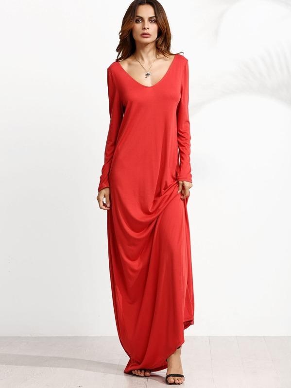 0ad9f87d4b Vestido maxi manga larga con escote V - rojo