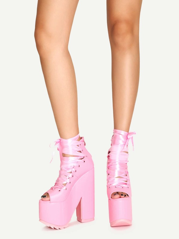 591275afb7 Cheap Pink Lace Up Platform Chunky Heel Shoes for sale Australia | SHEIN