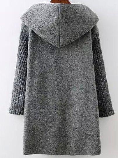 Grey Hooded Long Sleeve Pockets Sweater Coat -SheIn(Sheinside)