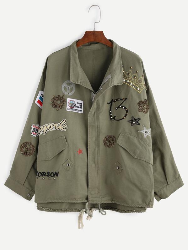 Abrigo Abrigo Mujer Shein Militar Verde Verde Militar Mujer HpwWF1d