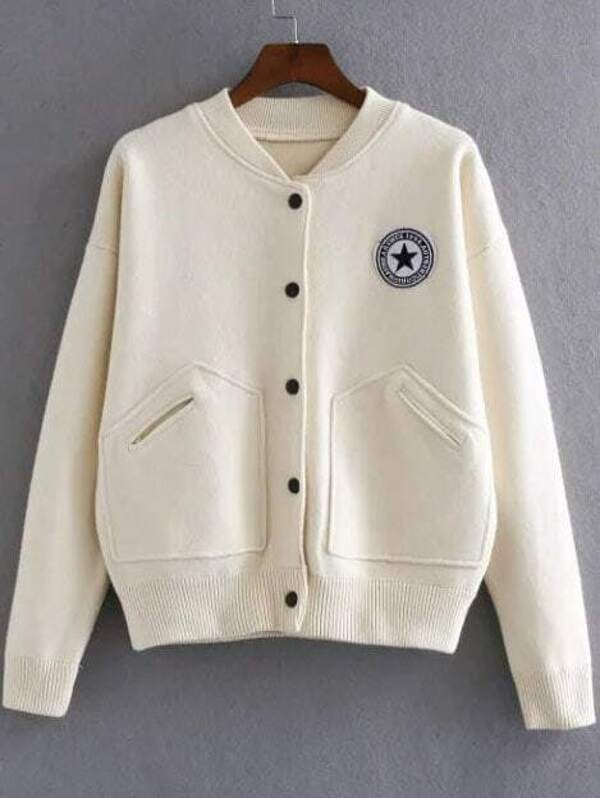 53fd6a7e5 Beige Varsity Embroidered Patch Knitted Bomber Jacket With Pocket