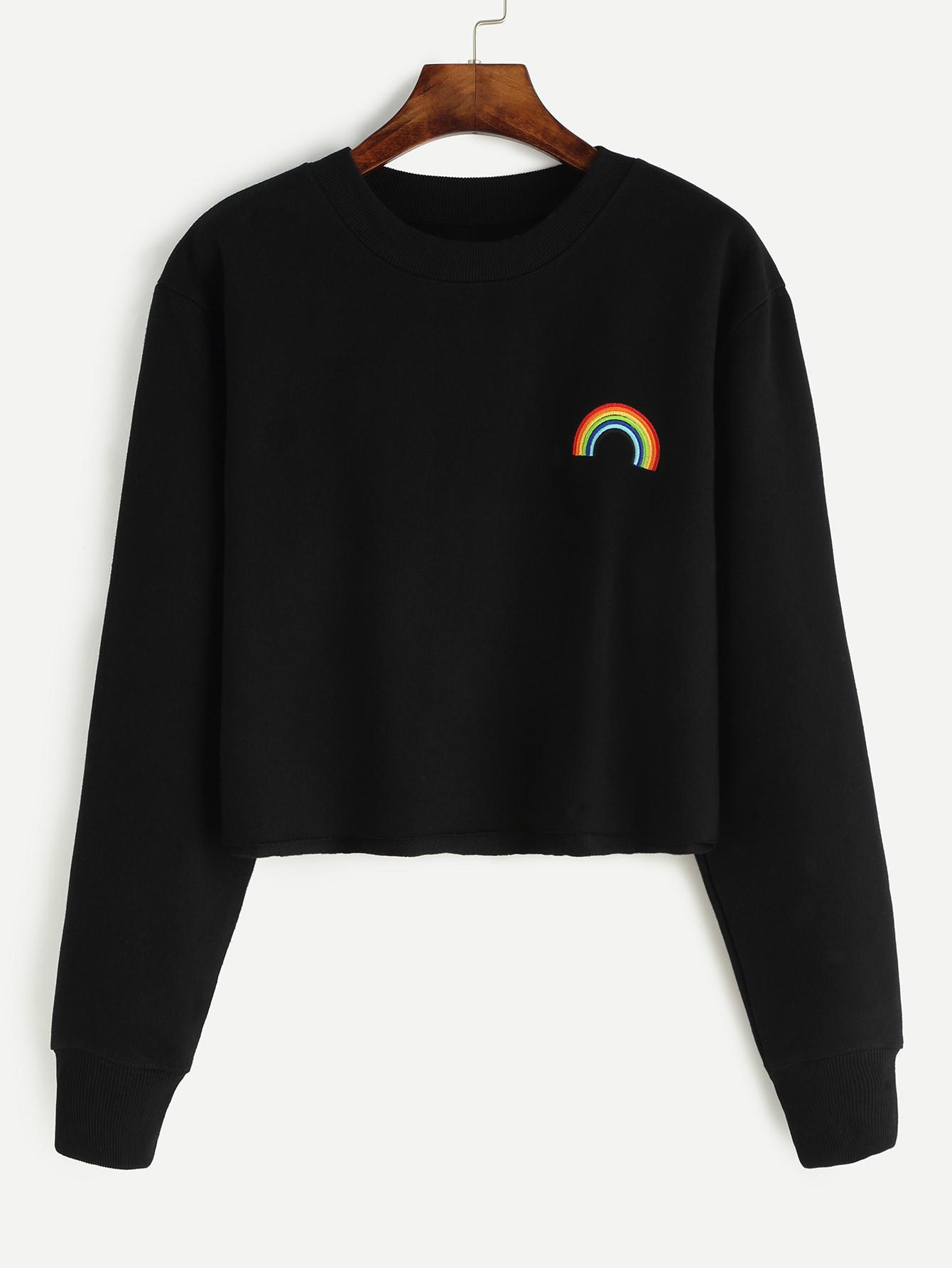 Black Rainbow Embroidered Crop Sweatshirt Shein Sheinside