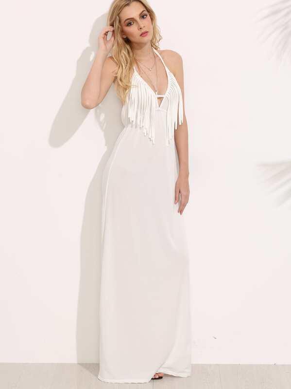 790cfaf552056 الأبيض الرسن الرقبة عارية الذراعين اللباس هدب