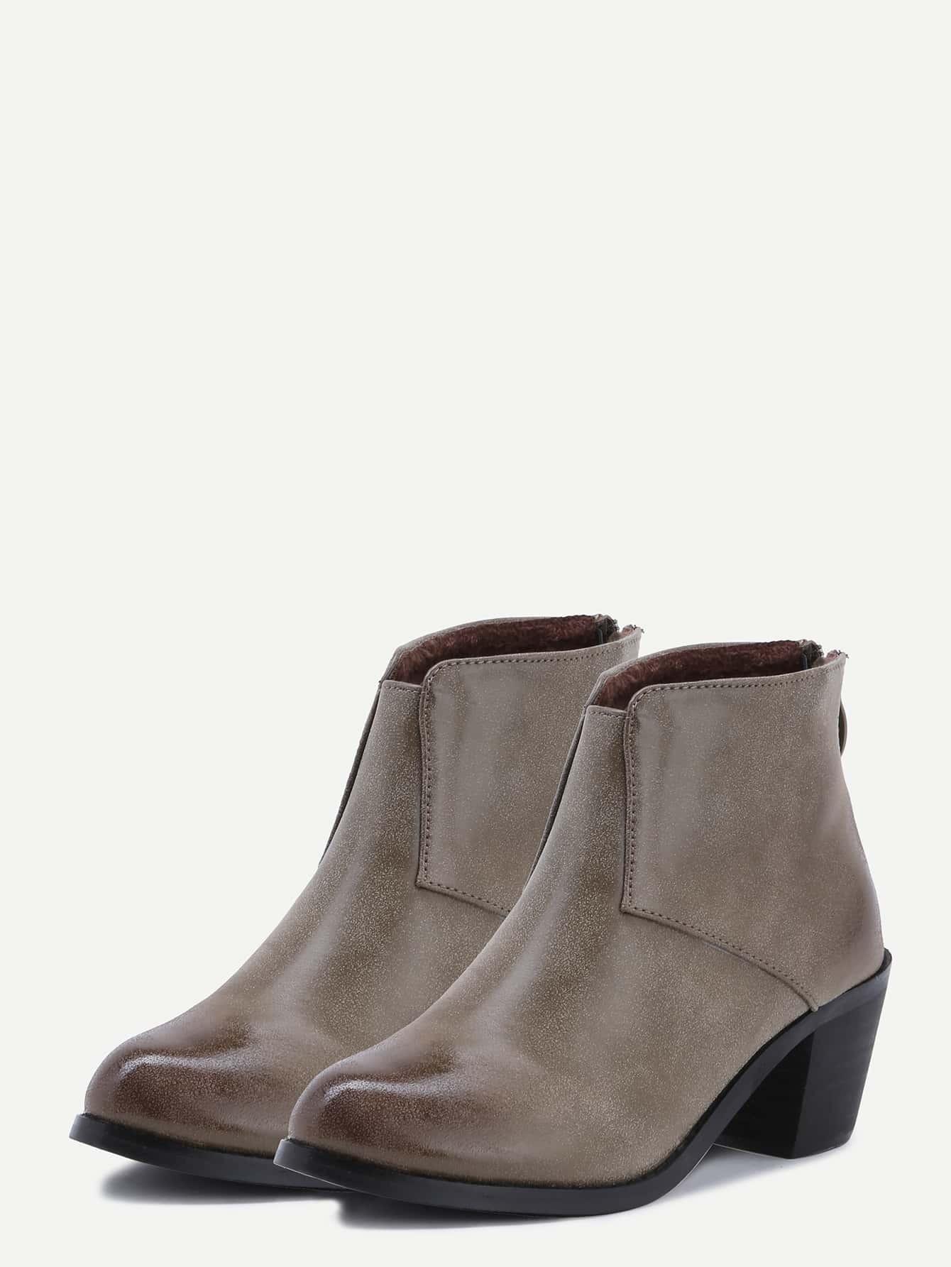 khaki faux leather back zipper ankle boots shein sheinside