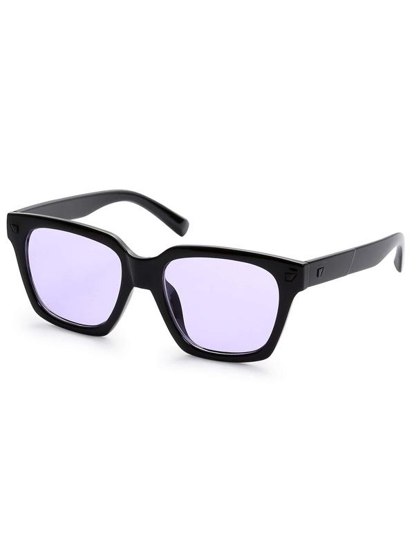 78df8d9fb5 ... Black Frame Purple Lens Sunglasses SHEIN SHEINSIDE