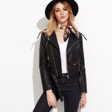 - Faux Leather Moto Jacket With Buckle Belt