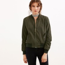 SHEIN | Army Green Shirred Sleeve Zipper Bomber Jacket | Goxip