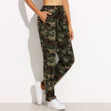 SHEIN | Camo Print Drawstring Jersey Pants | Goxip