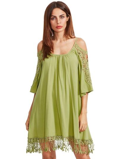 зеленый открытый плеча вязание крючком кружева рукава платья