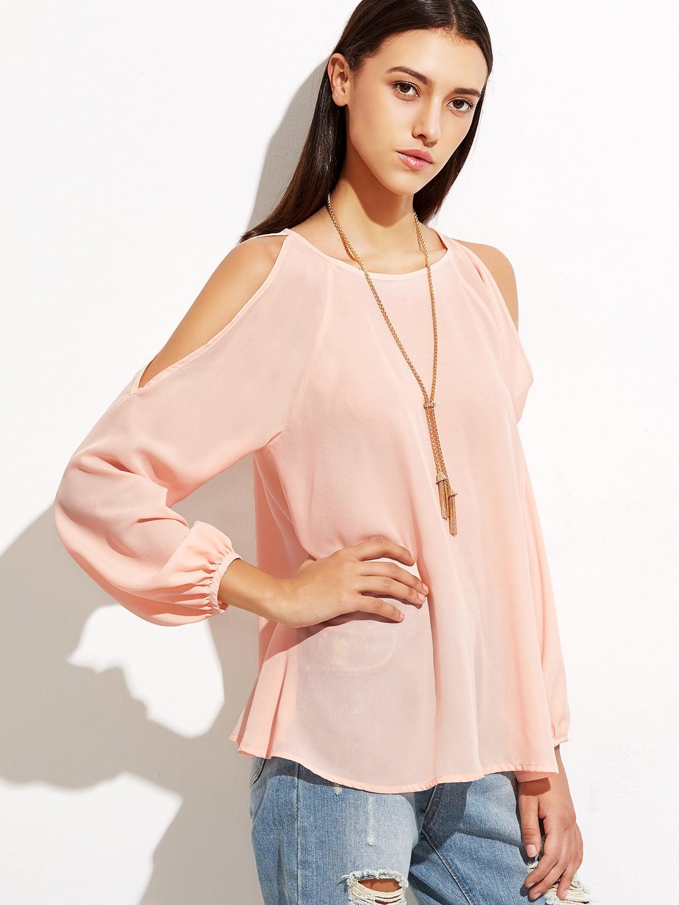 Pink Open Shoulder Raglan Sleeve Top