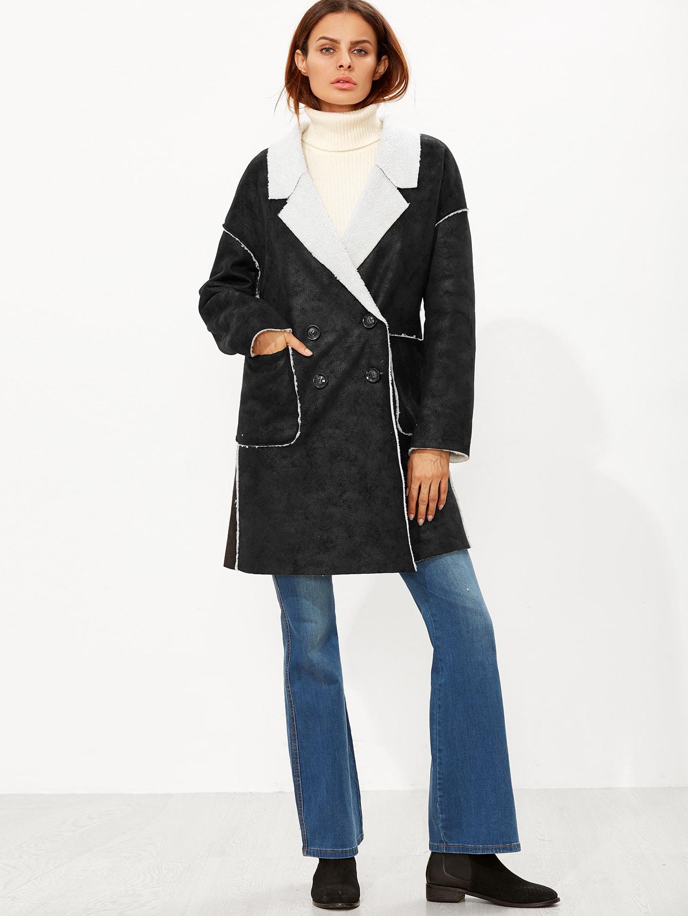 veste en faux tonte avec bouton noir french shein sheinside. Black Bedroom Furniture Sets. Home Design Ideas