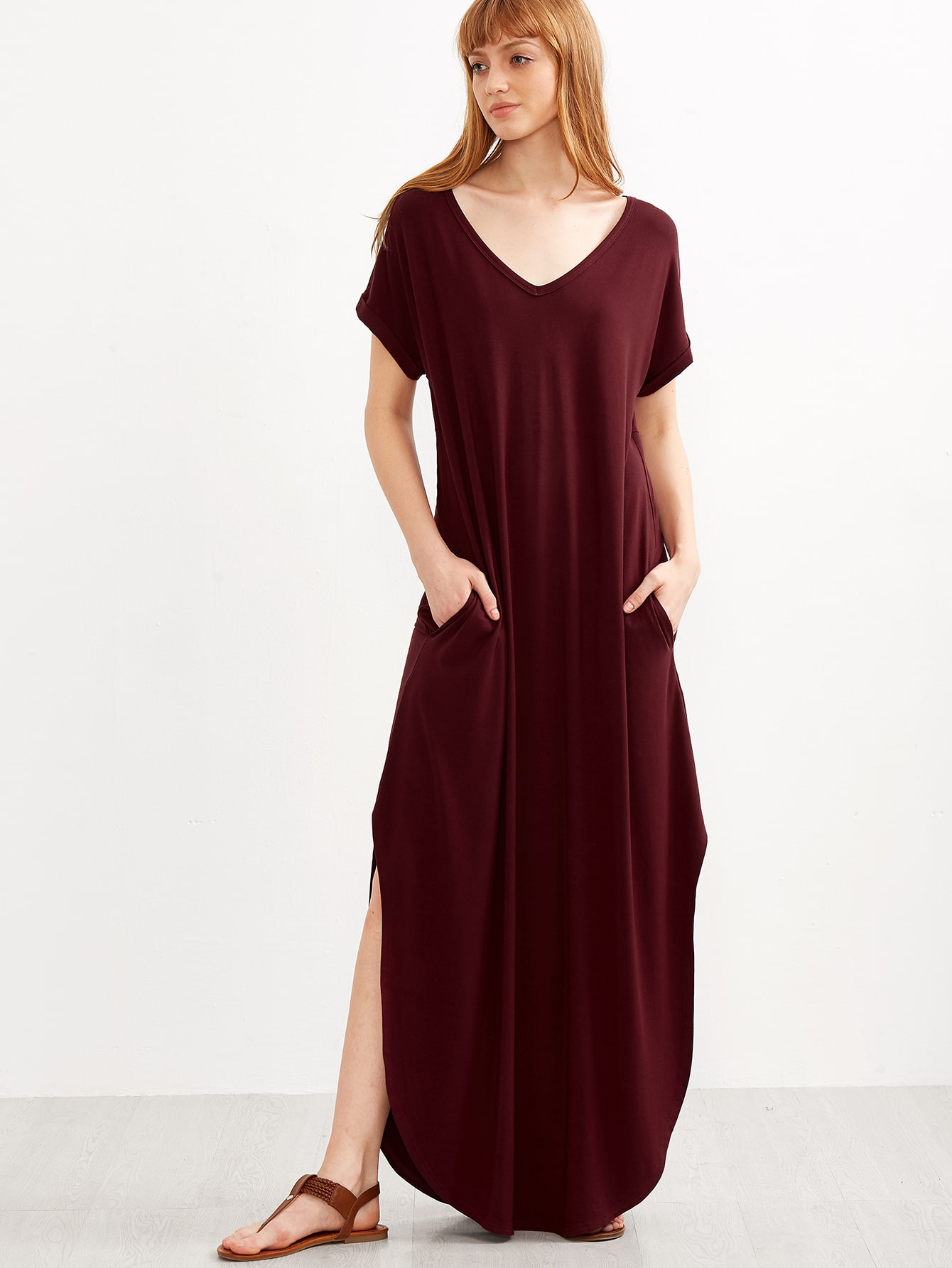 robe t shirt longue avec fentes rouge bordeaux french shein sheinside. Black Bedroom Furniture Sets. Home Design Ideas