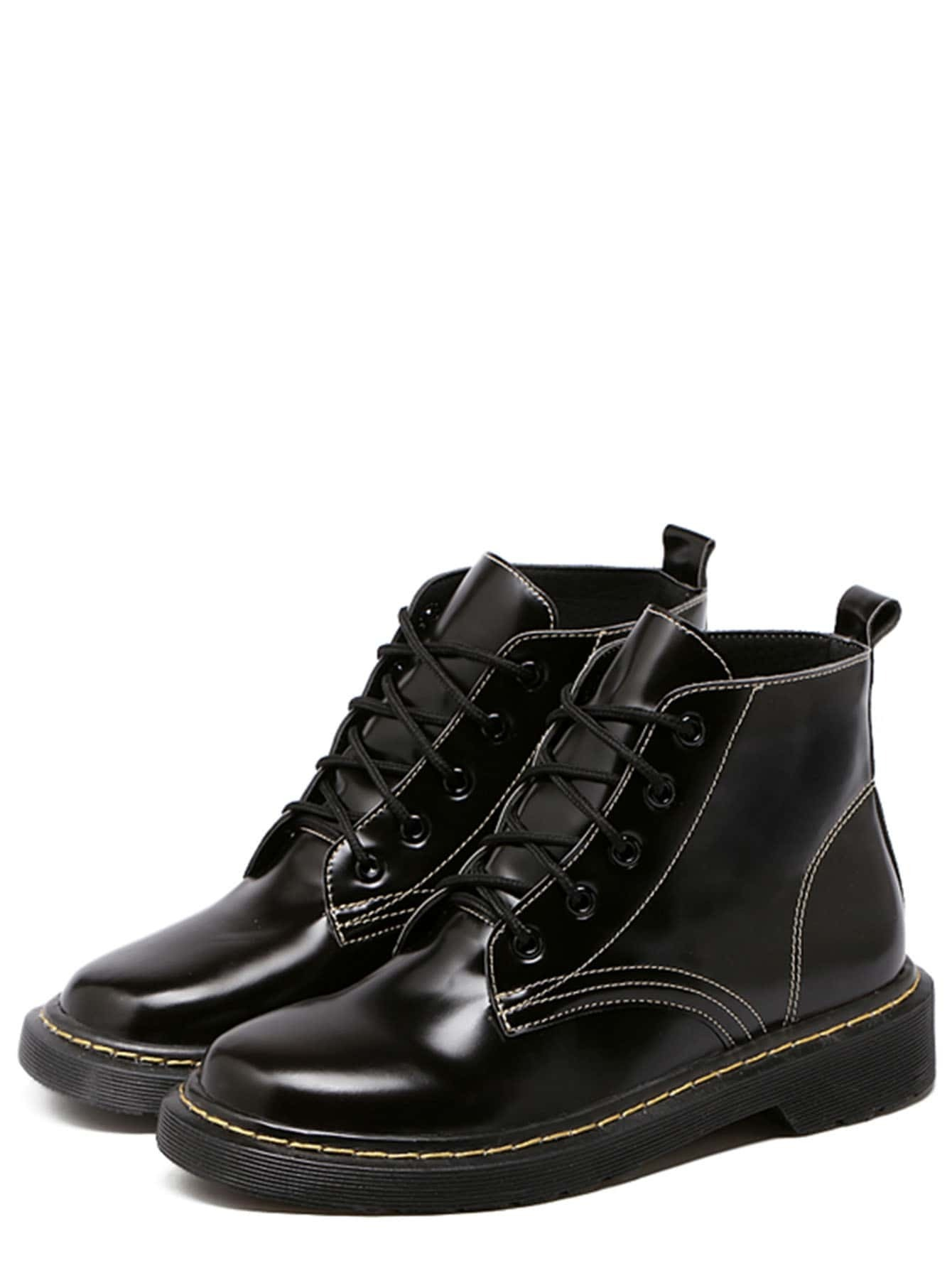 black faux leather lace up ankle boots shein sheinside