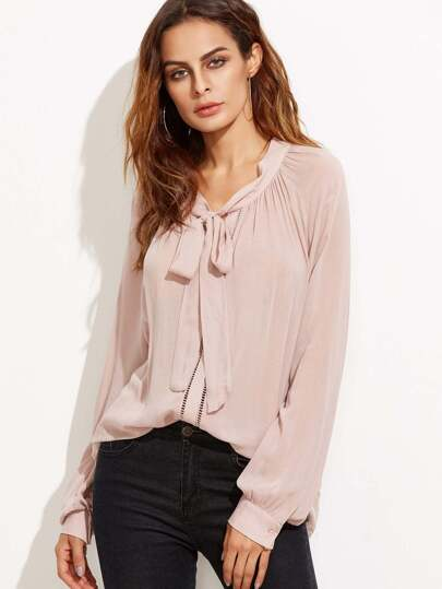 Pink Tie Neck Eyelet Lace Insert Blouse