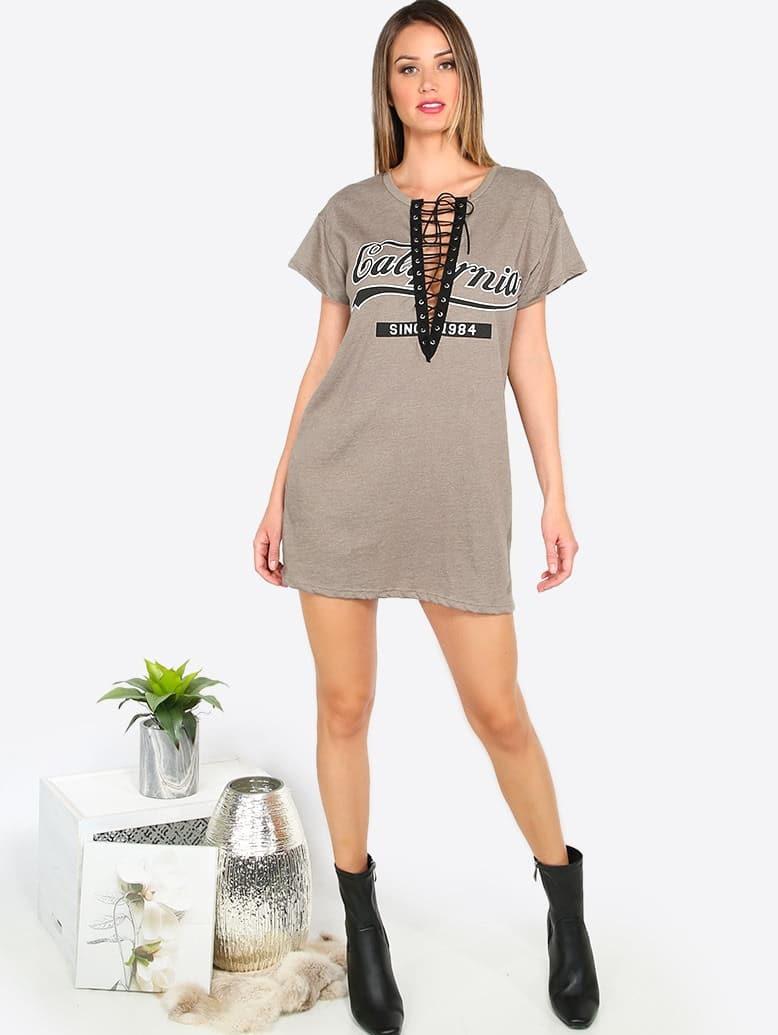 079446f0276107 Kleid Kurzarm Vorne Schür - kaffee | SHEIN