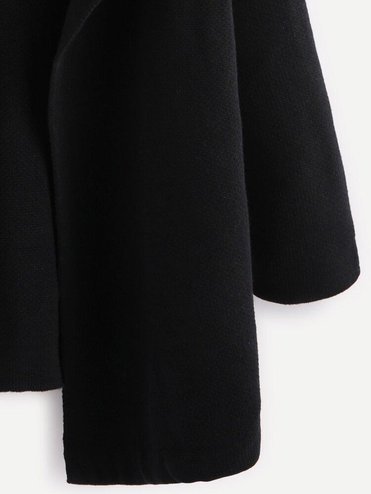 c852d87b75 Black Notch Collar Open Front Sweater Coat   SHEIN