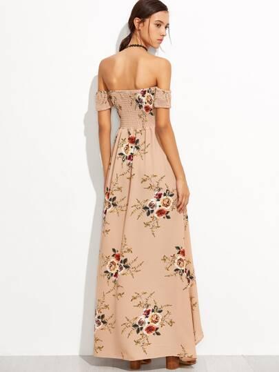 Pink Rose Print Off The Shoulder Wrap Dress -SheIn(Sheinside)